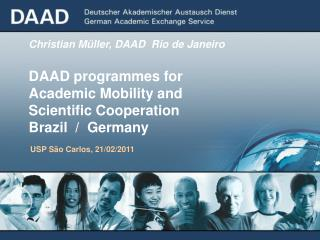 Christian Müller, DAAD  Rio de Janeiro DAAD programmes for