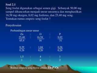 Soal 2.1 Seng fosfat digunakan sebagai semen gigi.  Sebanyak 50,00 mg