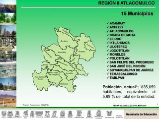 ACAMBAY ACULCO ATLACOMULCO CHAPA DE MOTA EL ORO IXTLAHUACA JILOTEPEC JOCOTITLÁN MORELOS POLOTITLÁN