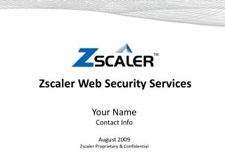 Zscaler Web Security Services