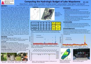 Computing the Hydrologic Budget of Lake Wapalanne