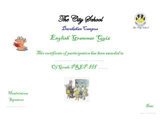The City School Darakshan Campus English  Grammar Quiz
