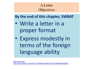 A Letter Objectives