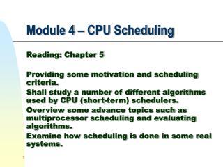 Module 4 – CPU Scheduling