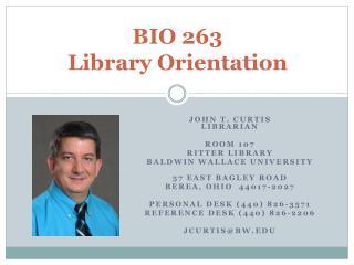 BIO 263 Library Orientation