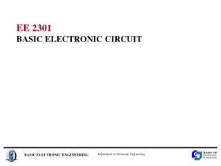 EE 2301 BASIC ELECTRONIC CIRCUIT