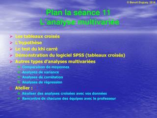 Plan la séance 11  L'analyse multivariée