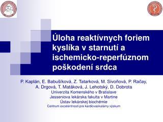 Úloha reaktívnych foriem kyslíka v starnutí a ischemicko-reperfúznom poškodení srdca