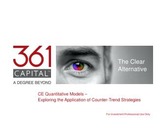 CE Quantitative Models –  Exploring the Application of Counter-Trend Strategies