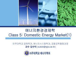 에너지환경경제학 Class 5: Domestic Energy Market(1)