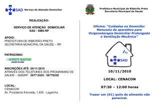 10/11/2010  LOCAL: CENACON 07:30 – 12:00 horas Trazer um (01) quilo de alimento não perecível.