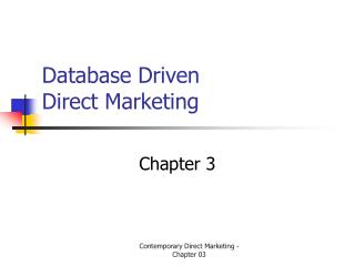 Database Driven  Direct Marketing