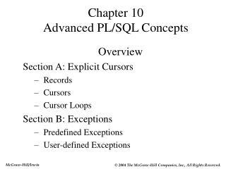 Chapter 10  Advanced PL/SQL Concepts