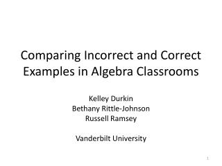 Comparing Incorrect and Correct Examples in Algebra Classrooms