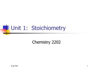 Unit 1:  Stoichiometry