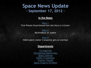Space News Update - September 17, 2012 -