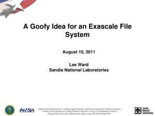 A Goofy Idea for an Exascale File System