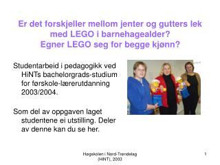 Studentarbeid i pedagogikk ved HiNTs bachelorgrads-studium for førskole-lærerutdanning 2003/2004.