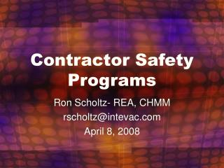 Contractor Safety Programs