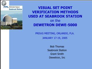 VISUAL SET POINT  VERIFICATION METHODS  USED AT SEABROOK STATION on the DEWETRON DEWE-5000