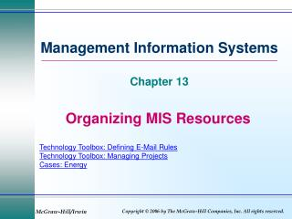 Organizing MIS Resources