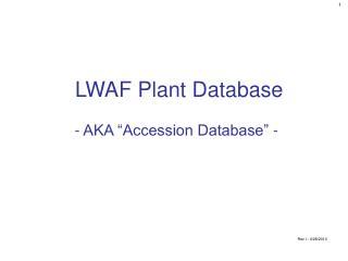 LWAF Plant Database