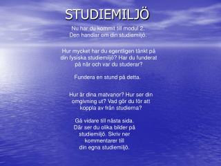 STUDIEMILJ�