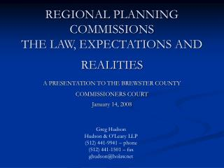REGIONAL PLANNING COMMISSIONS THE LAW, EXPECTATIONS AND REALITIES