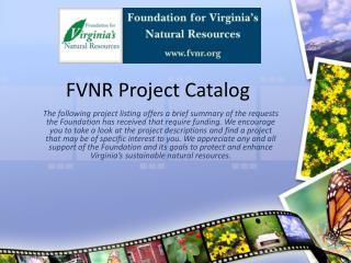 FVNR Project Catalog
