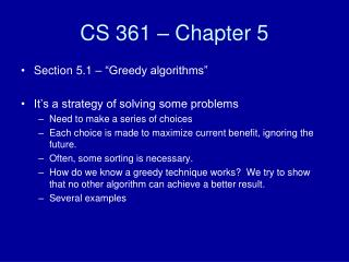 CS 361 – Chapter 5
