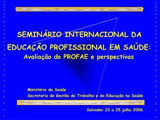SEMINÁRIO INTERNACIONAL DA EDUCAÇÃO PROFISSIONAL EM SAÚDE:
