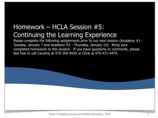 Homework: Recap of HCLA Session Four