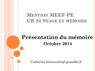 Mention  MEEF -PE UE 24 Stage et m�moire