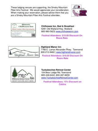 Highland Manor Inn 7766 E. Lamar Alexander Pkwy,  Townsend 800-213-9462 |  highlandmanor