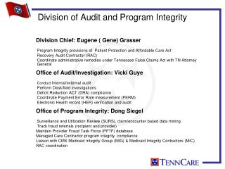 Division of Audit and Program Integrity