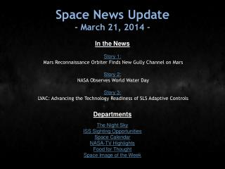 Space News Update - March 21, 2014 -