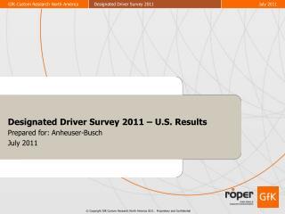 Designated Driver Survey 2011 – U.S. Results