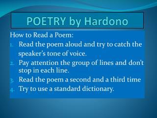 POETRY by  Hardono