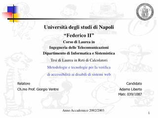 """Università degli studi di Napoli """"Federico II"""" Corso di Laurea in"""