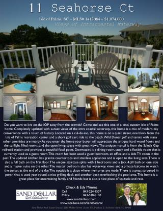 11  Seahorse Ct Isle of Palms, SC ~ MLS# 1413084 ~ $1,074,000