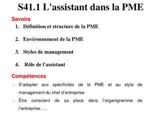 S41.1 L'assistant dans la PME