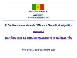 REPUBLIQUE DU SENEGAL __________ MINISTERE DE  L�ECONOMIE ET DES FINANCES