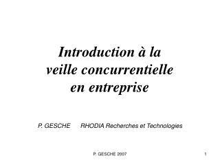 Introduction à la veille concurrentielle en entreprise