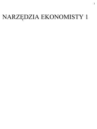 NARZĘDZIA EKONOMISTY 1