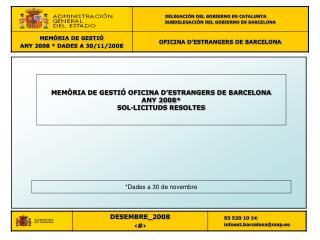MEMÒRIA DE GESTIÓ OFICINA D'ESTRANGERS DE BARCELONA ANY 2008* SOL·LICITUDS RESOLTES