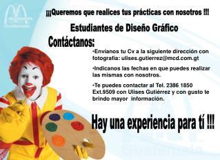 ¡¡¡Queremos que realices tus prácticas con nosotros !!!