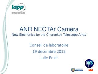 ANR  NECTAr  Camera New  Electronics  for the  Cherenkov Telescope Array