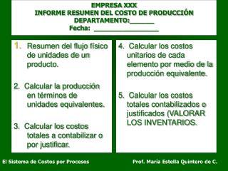 EMPRESA XXX INFORME RESUMEN DEL COSTO DE PRODUCCI N DEPARTAMENTO:______ Fecha:  ________________