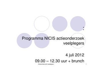 Programma NICIS actieonderzoek veelplegers 4 juli 2012  09.00 – 12.30 uur + brunch