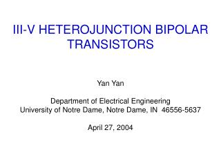 III-V HETEROJUNCTION BIPOLAR TRANSISTORS